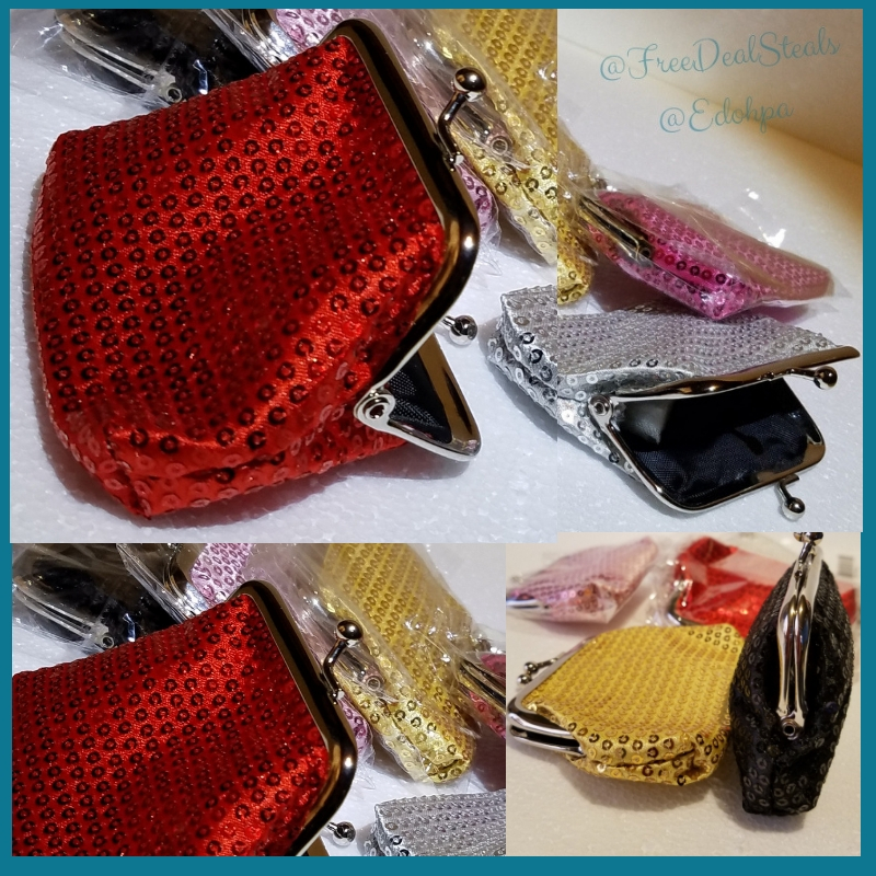 Sparkly Sequin Coin Purses, (Set of 6)