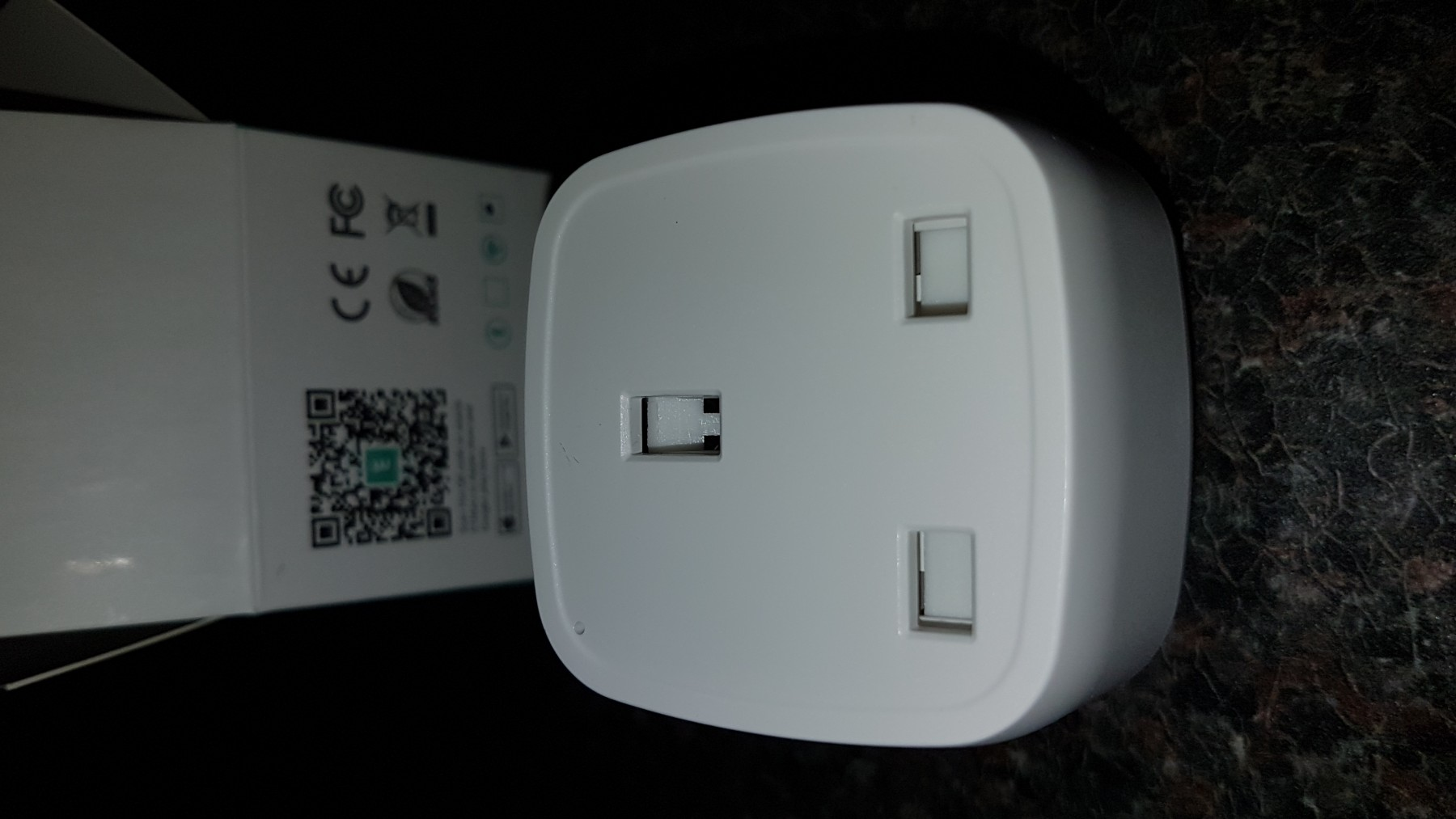 Very small compact smart WiFi plug. 2.4Ghz only.