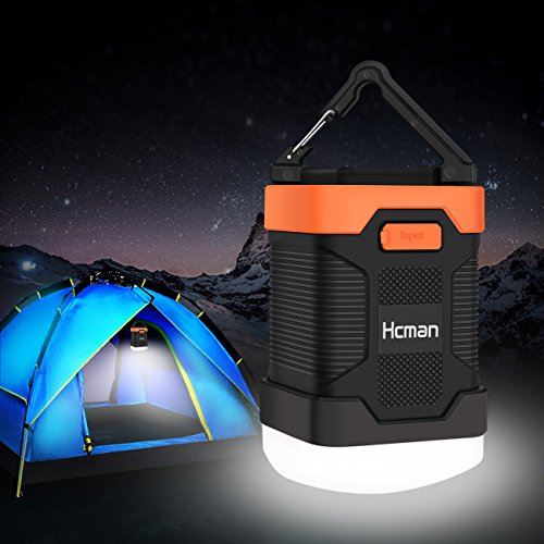 Camping Lantern Rechargeable Flashlight - Hcman Power Bank 10000 mAh, Tent Flashlight Led Camping Lamp IP65 Waterproof