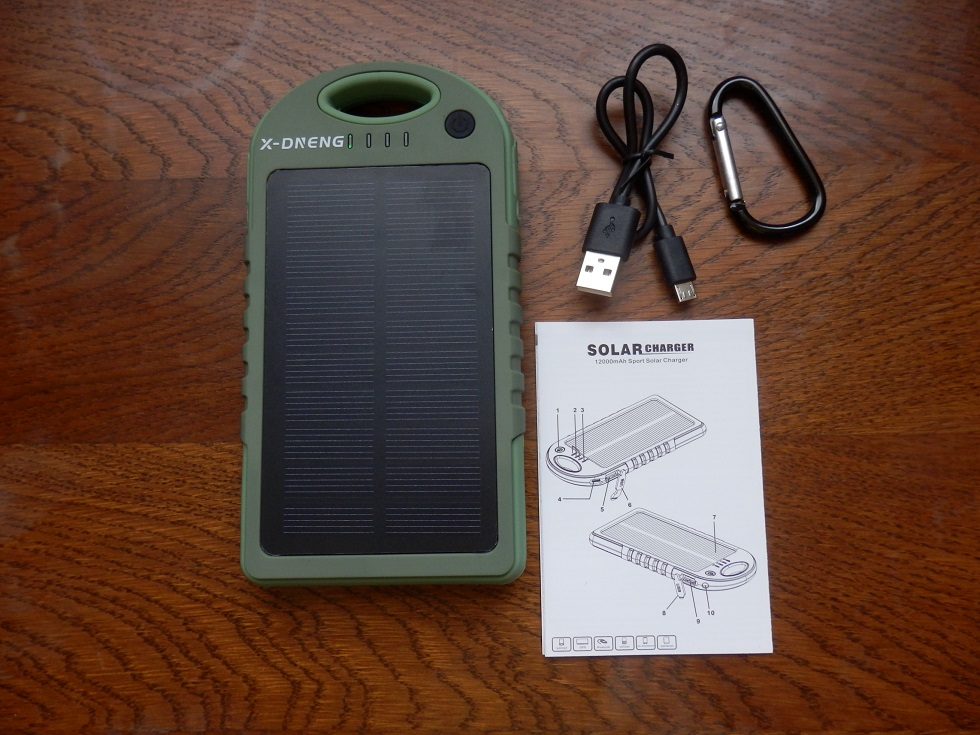 Portable Waterproof, 12000mAh Solar Power Bank, with Dual USB and LED Flashlight by X-DNENG