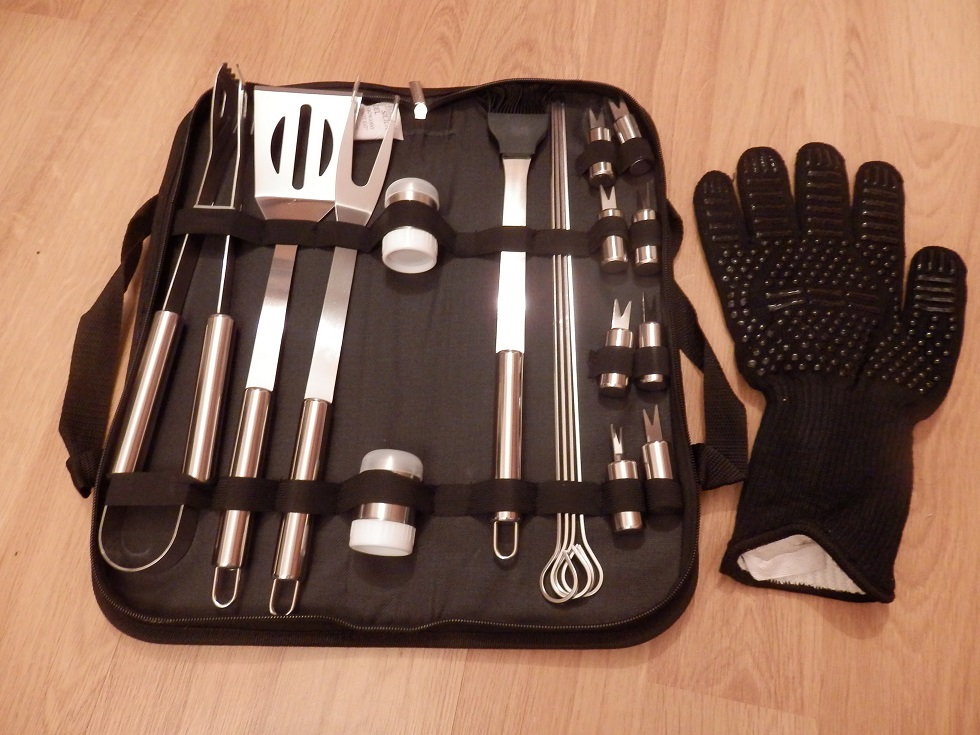 Ausma BBQ Tools Stainless Steel Set, 19 pcs, with BBQ Glove