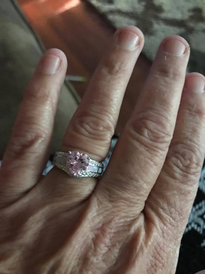 Pink Opal Heart Ring