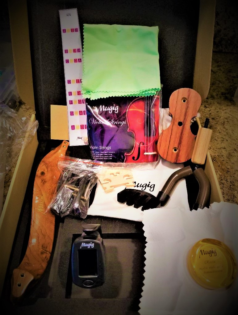 Mugig Violin Accessories Kit with Tuner, Rosin, String and Holder, Special Violin Care Kit for All Size of Violin