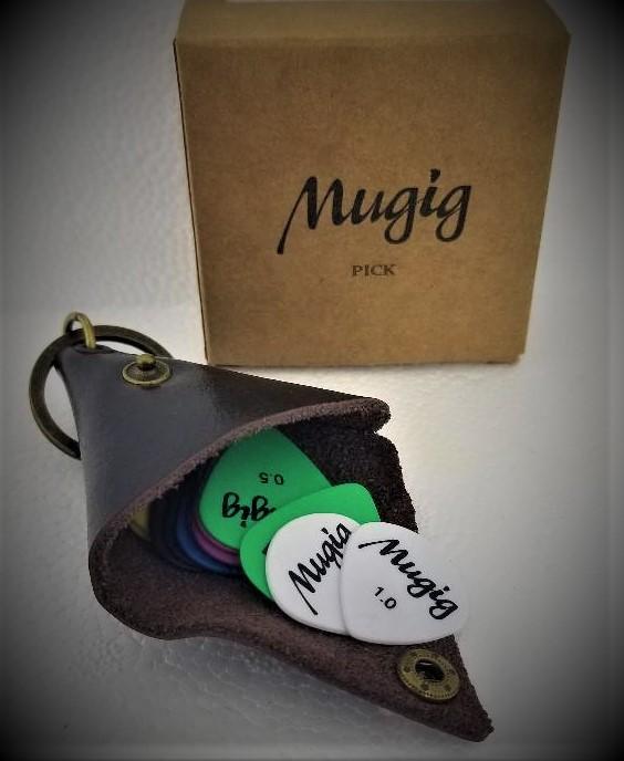 Mugig Guitar Picks Plectrums (Delrin) with Leather Pick Holder Case