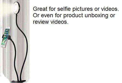 Goose Neck Style Phone holder And Selfie Ring Light In One!
