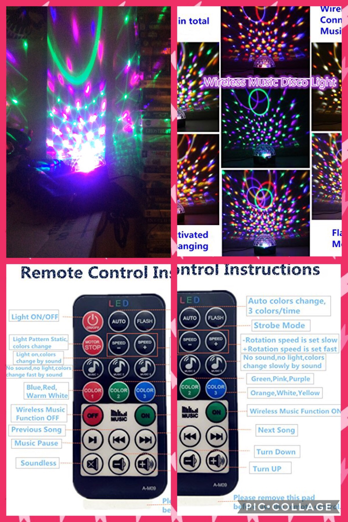 Disco Ball Projector Party Lights Speaker Strobe Club lights Effect Magic Mini LED Stage Lights Wireless Phone Connection