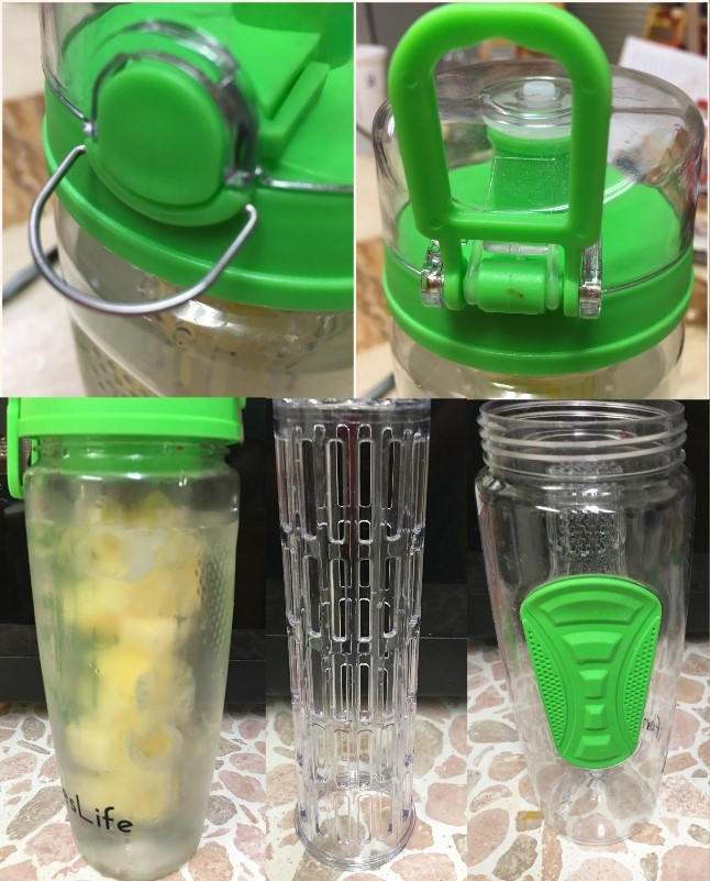 Waterbottle with insert for fruit/vegetables