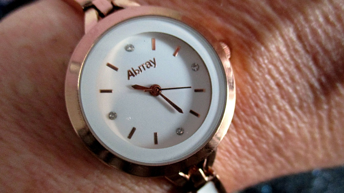 Abrray Ladies Rose Gold & White Ceramic Watch