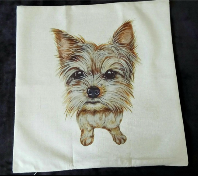 Adorable Yorkie pillowcover!