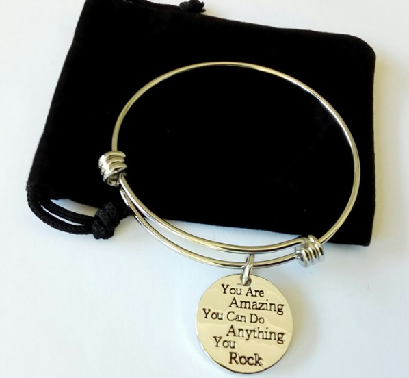 Lauhonmin Bangle Bracelets Jewelry You are Amazing You Can Do Anything You Rock