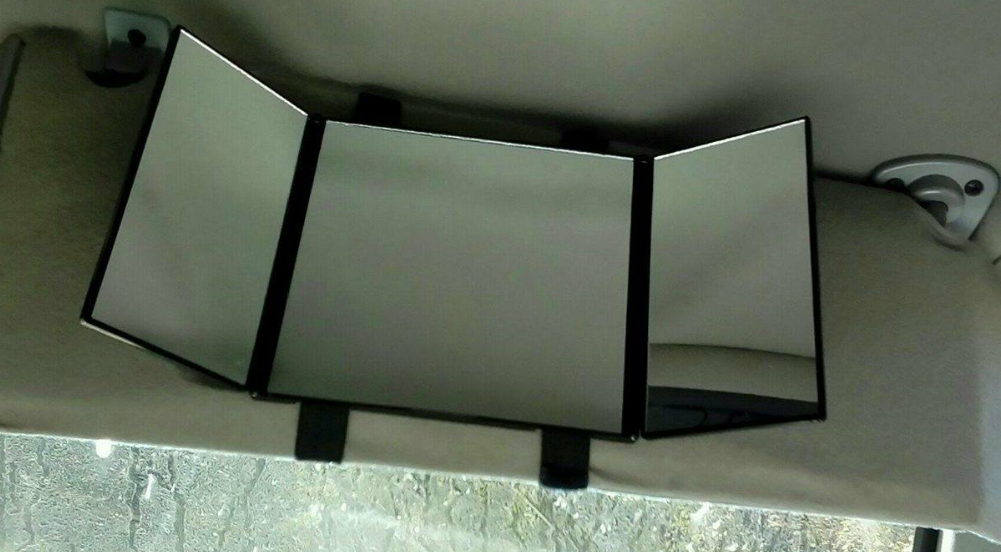 Great sun visor mirror for touching up make-up and hair!