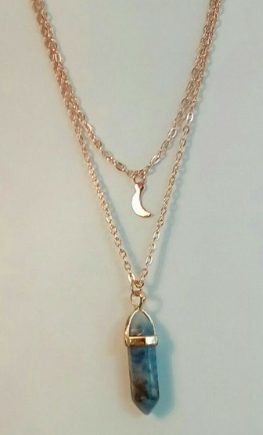 Beautiful blue stone and moon necklace!