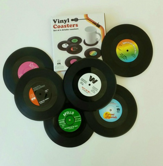 This coaster set looks just like vinyl records!  Love them!