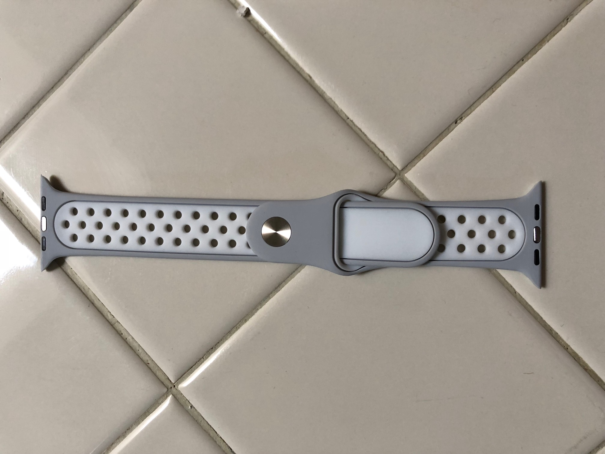Nike Grey/White Apple Watch Band