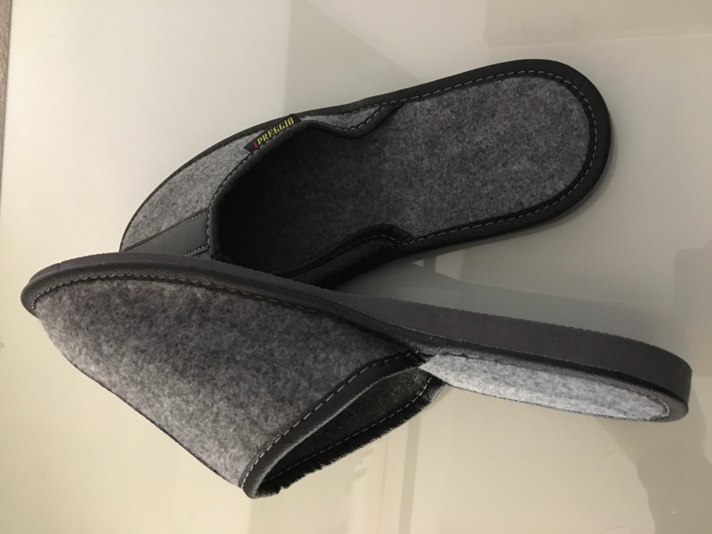 Apreggio Filzpantoffeln Herren Filz Hausschuhe Filzlatschen Wärme Komfortschuhe Grau Handgemachte Qualität