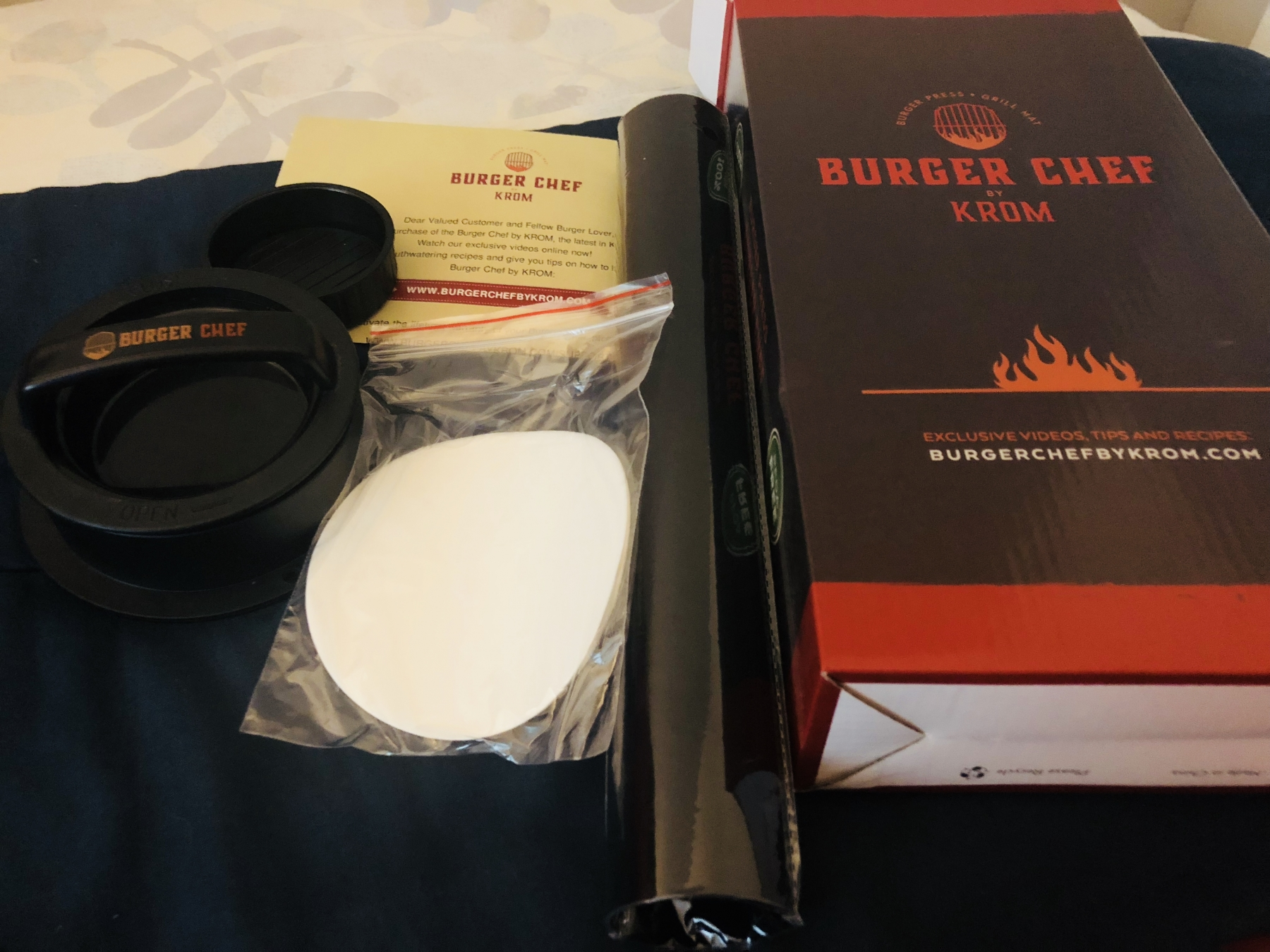 Burger press kit with Grill Mat Buger chef by Krom