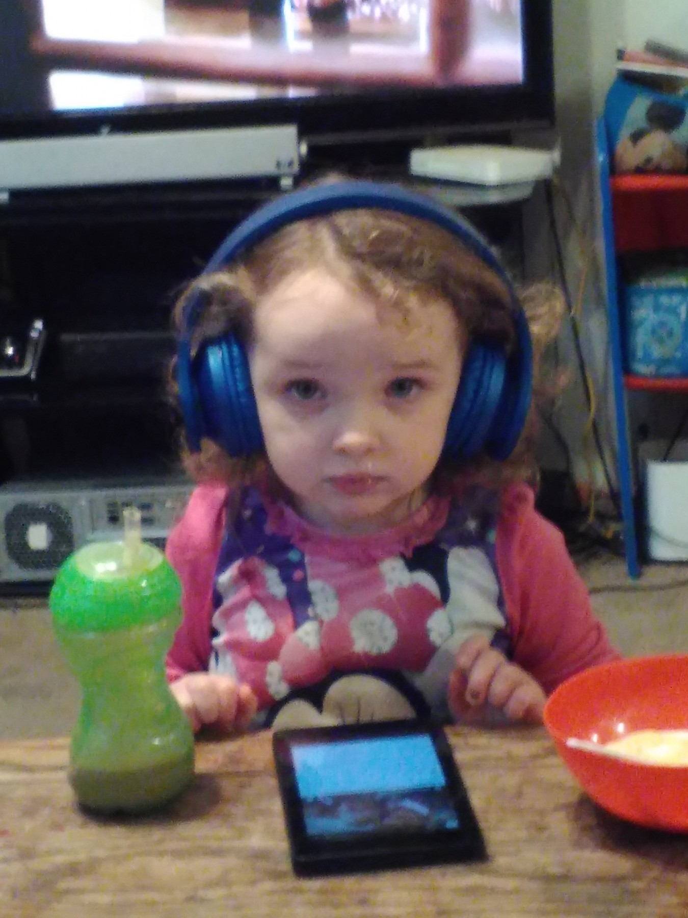 I have been needing a good pair of headphones and I have finally found them.  They are soft, comfortable and aren't too big for my head.  The sound quality is excellent.  Oh and my 3 year old also loves them. I caught her off guard in t