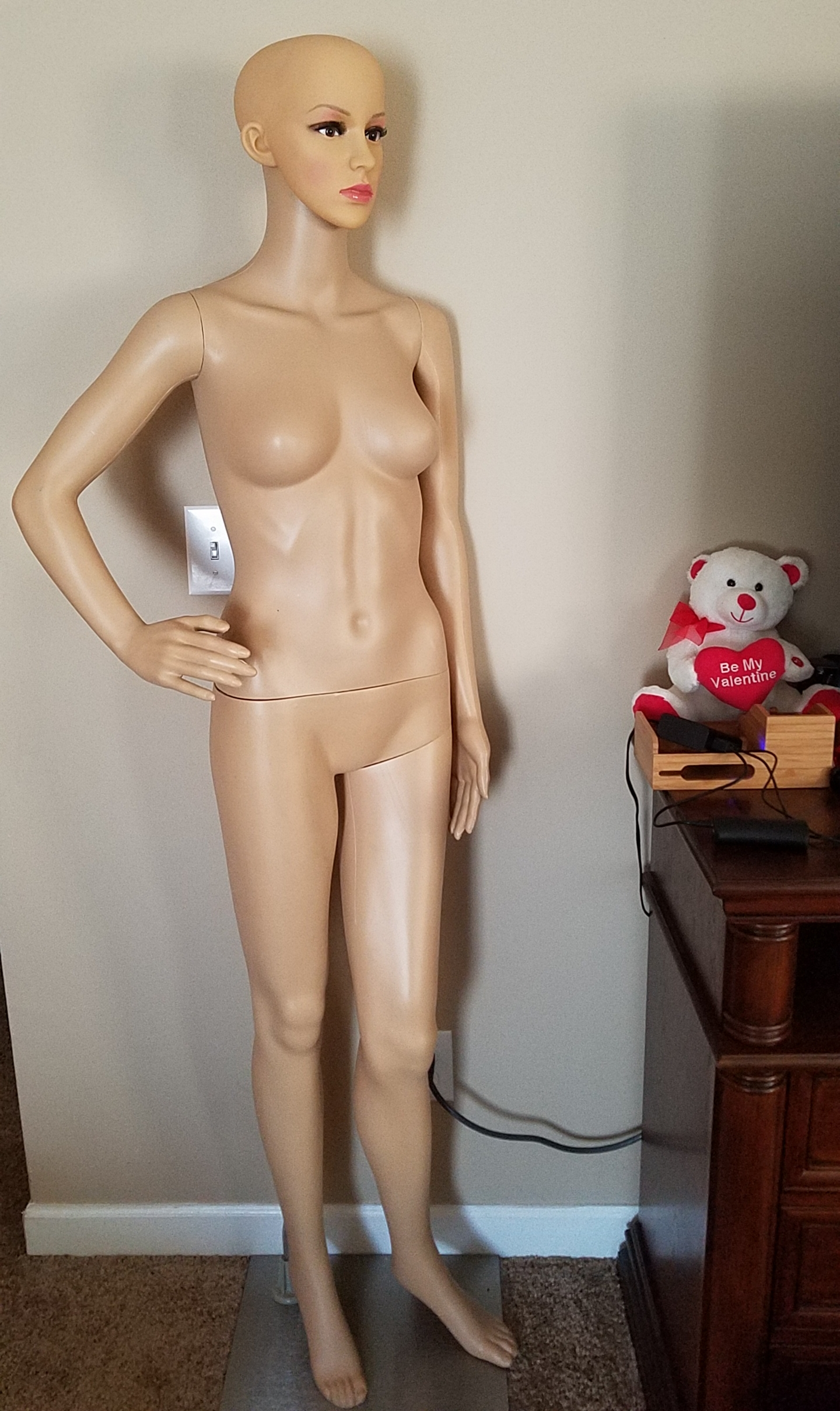 Just surprised my wife with this mannequin for her business...But...forgot the wig!
