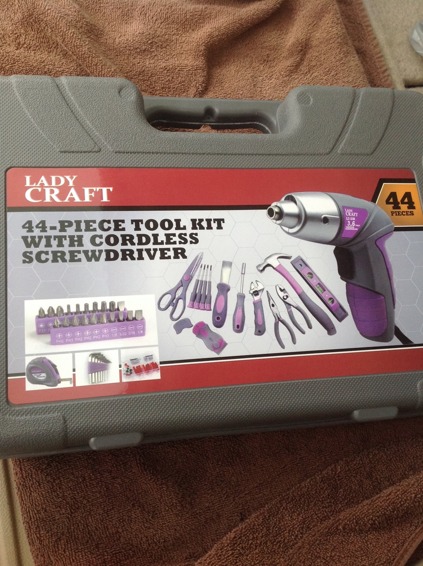 "Super awesome, purple and gray, very well made tool set, that has everything I need, to be ""handy-woman""!"