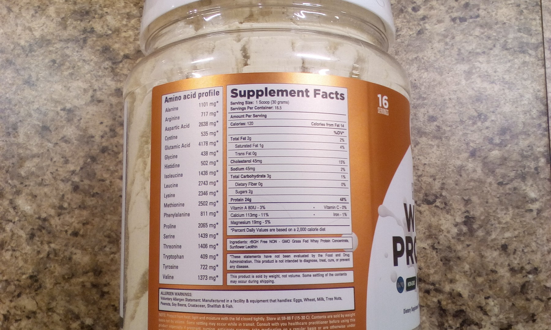 Non-flavored whey protein