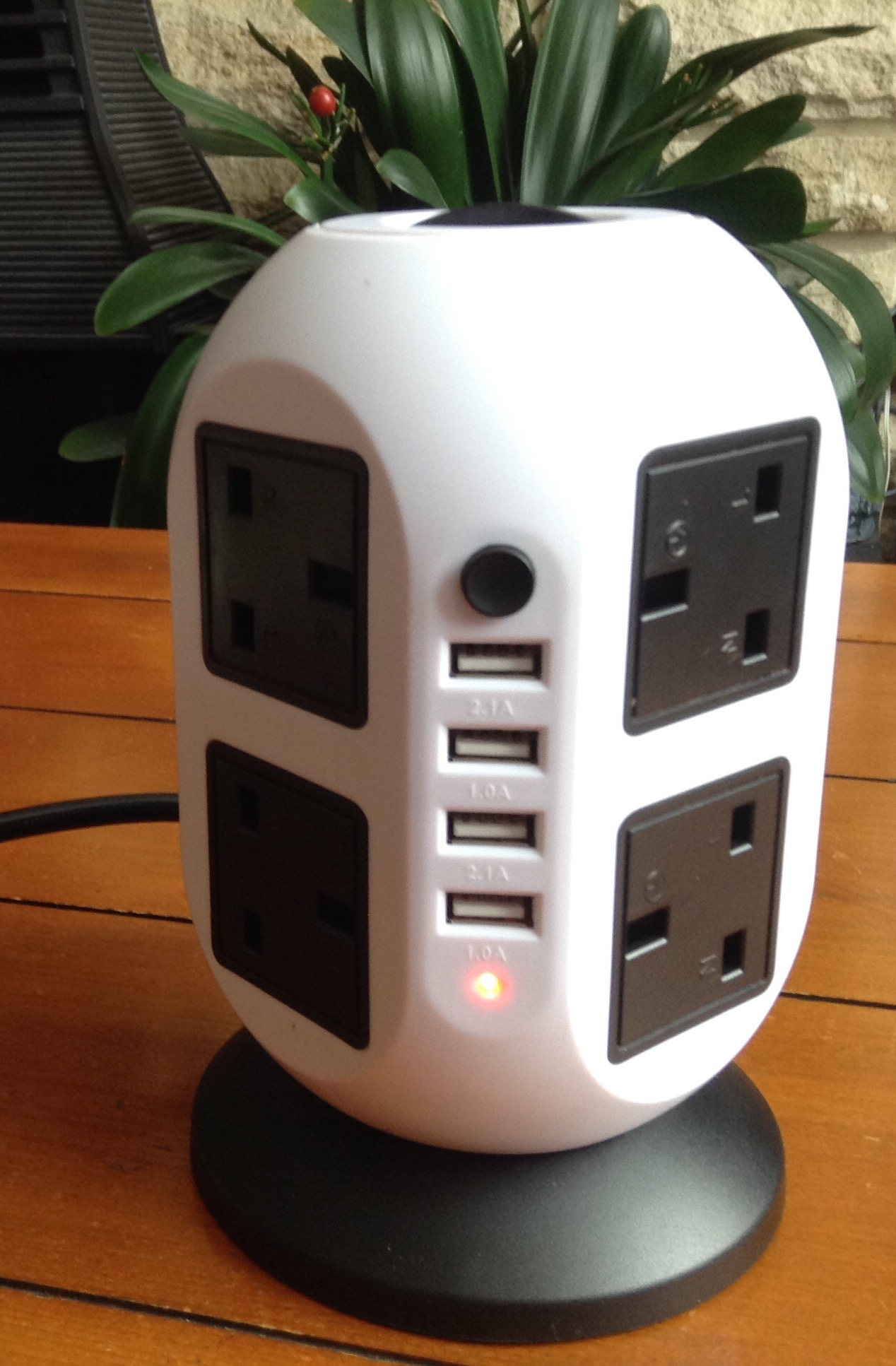 A Sturdy Multi-Socket Tower with 4 USB Output Ports
