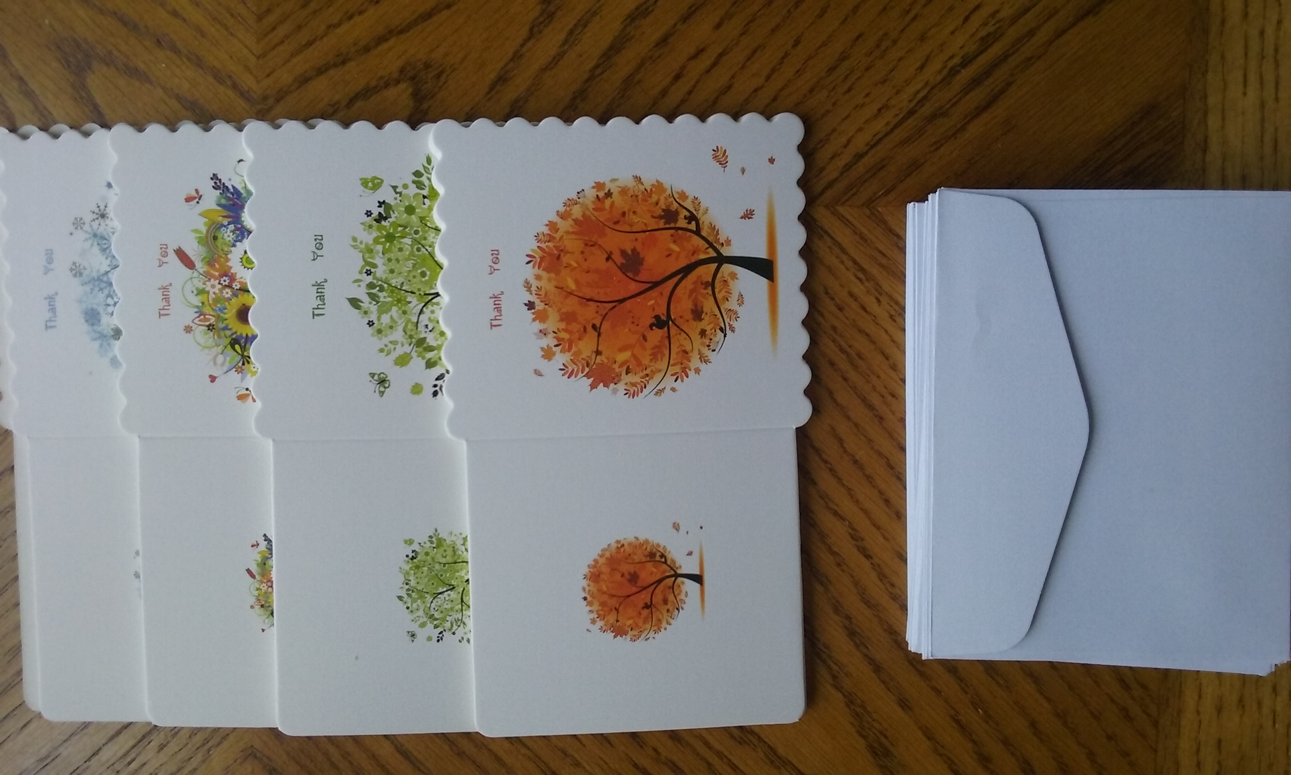 44 SEASONAL TREE THANK YOU CARDS WITH ENVELOPES